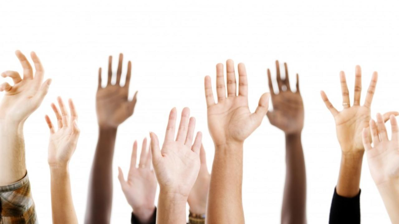 Image of hands raised as if taking attendance