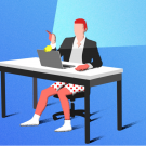 Rendering of a man video conferencing while wearing no pants.